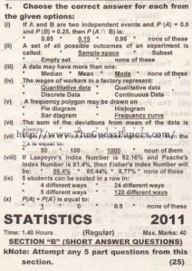 STATISTICS Solved Past Paper 2nd year 2012 Karachi Board
