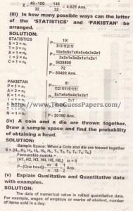 STATISTICS Solved Past Paper 2nd year 2013 Karachi Board (Regular)2