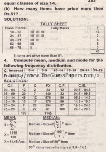 STATISTICS Solved Past Paper 2nd year 2014 Karachi Board (Private)5