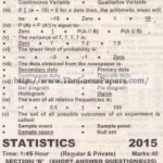 STATISTICS Solved Past Paper 2nd year 2015 Karachi Board (Regular and Private)